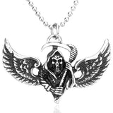 "316L Stainless Steel ""Winged Reaper"" Pendant Necklace - Blown Biker - 2"