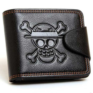 "Cow Leather ""Skull & Bones"" Snap Bifold Wallet - Blown Biker - 3"