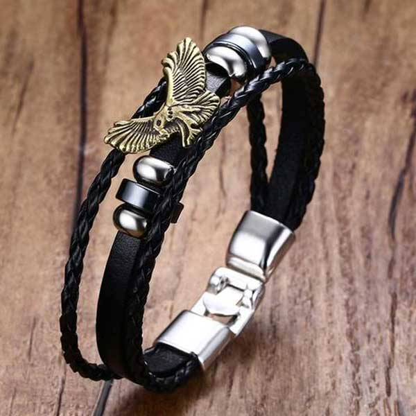 "316L Stainless Steel & Leather ""American Eagle"" Bracelet - Blown Biker - 2"