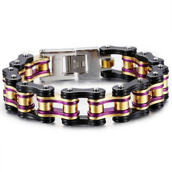 "316L Stainless Steel ""Chunky Colors"" Biker Bracelet - Blown Biker - 3"