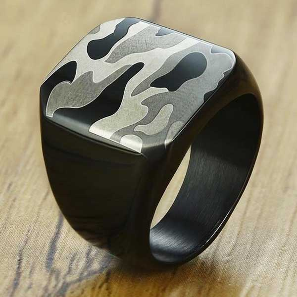 "316L Stainless Steel ""Camo Signet"" Ring - Blown Biker - 3"