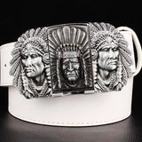 """Indian Chief"" Metal Belt Buckle with Belt & Lighter - Blown Biker - 6"