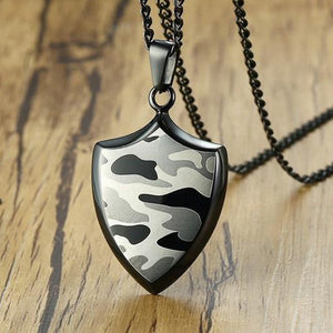 "316L Stainless Steel ""Camo Shield"" Pendant Necklace - Blown Biker - 3"