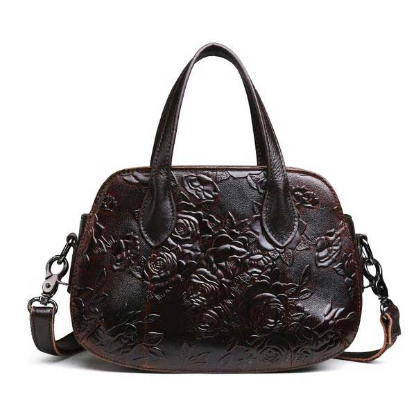 "Embossed Leather ""Roses"" Womens Handbag - Blown Biker - 3"