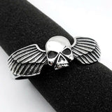 "316L Stainless Steel ""Winged Skull"" Bangle - Blown Biker - 3"