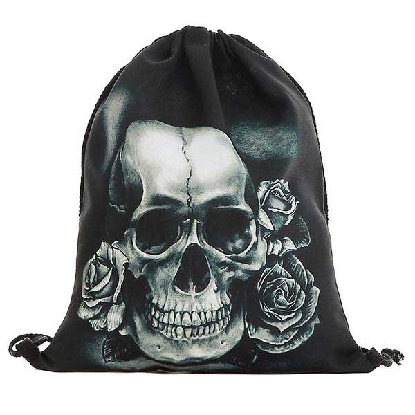 "3D Printed ""Black & White Skull"" Drawstring Bag - Blown Biker - 03"
