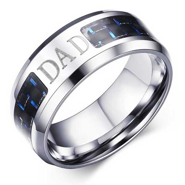 Engraved Stainless Steel Ring w/ Carbon Fiber Inlay - Blown Biker - 3