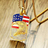 "316L Stainless Steel ""Golden Eagle"" Pendant Necklace - Blown Biker - 1"