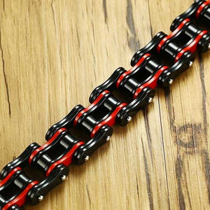 "316L Stainless Steel ""Red & Black"" Biker Bracelet - Blown Biker - 3"