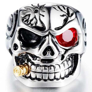 "316L Stainless Steel ""Smoking Skeleton"" Ring - Blown Biker - 2"