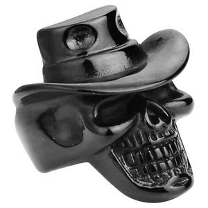 "316L Stainless Steel ""Cowboy Skull"" Ring - Blown Biker - 4"