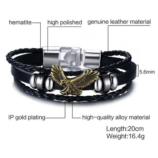 "316L Stainless Steel & Leather ""American Eagle"" Bracelet - Blown Biker - 5"