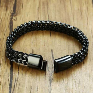 "316L Stainless Steel ""Black Wheat"" Biker Bracelet - Blown Biker - 02"