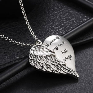 """A Piece Of My Heart Has Wings"" Angel Wings Necklace - Blown Biker - 1"