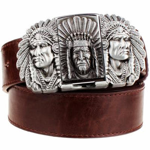 """Indian Chief"" Metal Belt Buckle with Belt & Lighter - Blown Biker - 5"