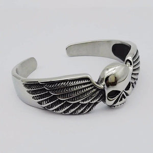 "316L Stainless Steel ""Winged Skull"" Bangle - Blown Biker - 5"