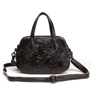 "Embossed Leather ""Roses"" Womens Handbag - Blown Biker - 4"