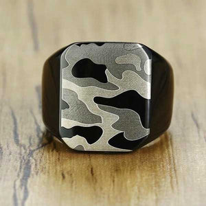 "316L Stainless Steel ""Camo Signet"" Ring - Blown Biker - 4"