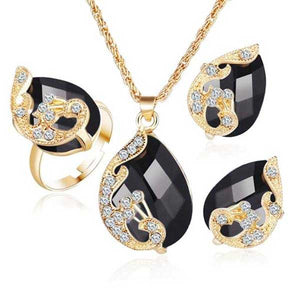 Austrian Crystals 3 Piece Jewelry Set - Blown Biker - 04