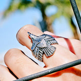 "316L Stainless Steel ""American Eagle"" Ring - Blown Biker - 12"