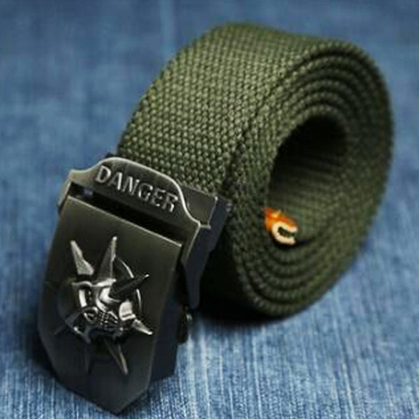 "Military ""Danger Skull"" Tactical Woven Belt - Blown Biker - 5"