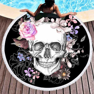 "Microfiber ""Skull & Flowers"" Beach Towel - Blown Biker - 1"