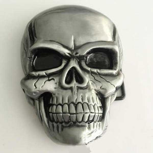 """Evil Skull"" Metal Belt Buckle - Blown Biker - 5"