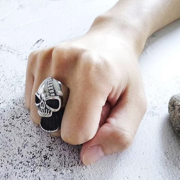 "316L Stainless Steel ""Bottled Skull"" Ring - Blown Biker - 2"