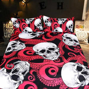 "3 Piece ""Tentacle Skull"" Bed Set - Blown Biker - 1"