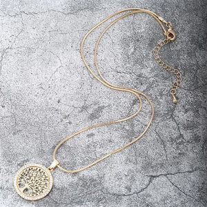 "Rose Gold ""Tree Of Life"" Pendant Necklace - Blown Biker - 8"