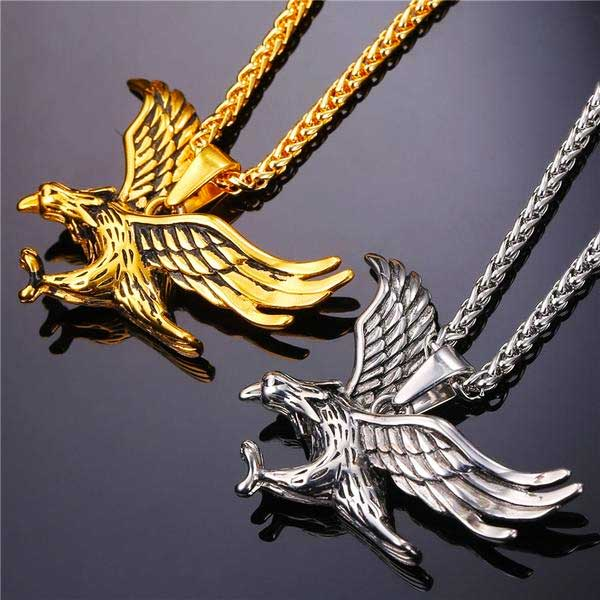 "316L Stainless Steel ""Flying Eagle"" Pendant Necklace - Blown Biker - 04"