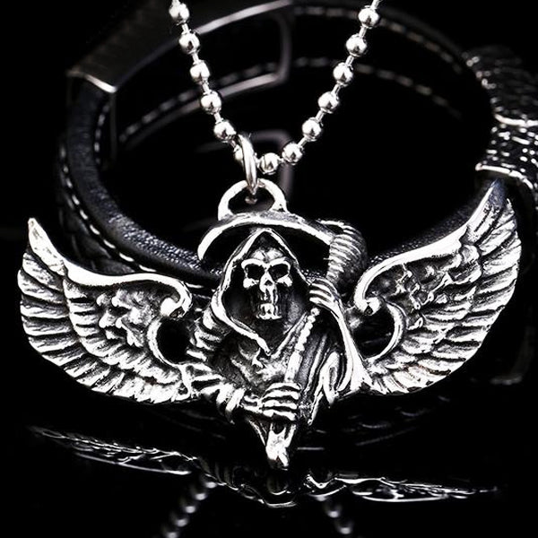 "316L Stainless Steel ""Winged Reaper"" Pendant Necklace - Blown Biker - 1"