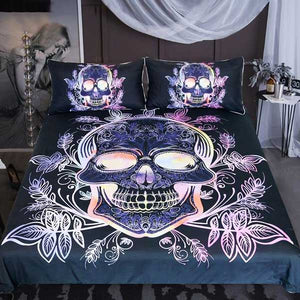 "3 Piece ""Neon Skull"" Bed Set - Blown Biker - 01"