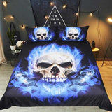 "3 Piece ""Flame Skull"" Bed Set - Blown Biker - 1"