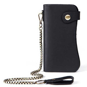 Geniuine Vintage Leather Multi Pocket Chain Wallet - Blown Biker - 1