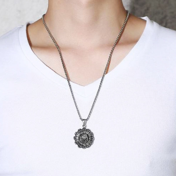 "316L Stainless Steel ""Roman Skull"" Pendant Necklace - Blown Biker - 6"