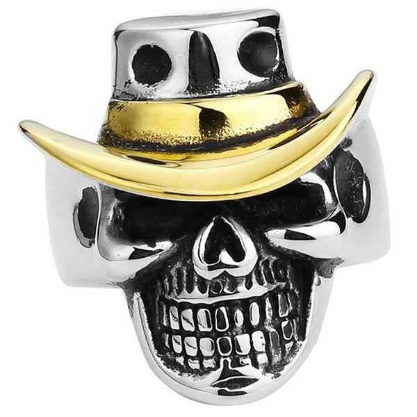 "316L Stainless Steel ""Cowboy Skull"" Ring - Blown Biker - 5"