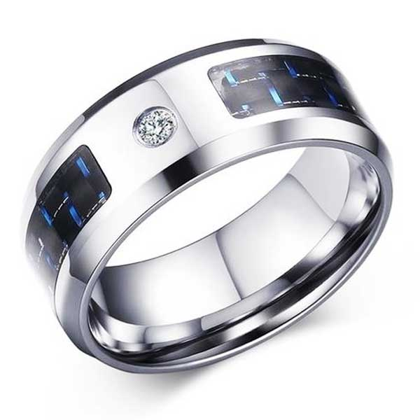 Engraved Stainless Steel Ring w/ Carbon Fiber Inlay - Blown Biker - 5