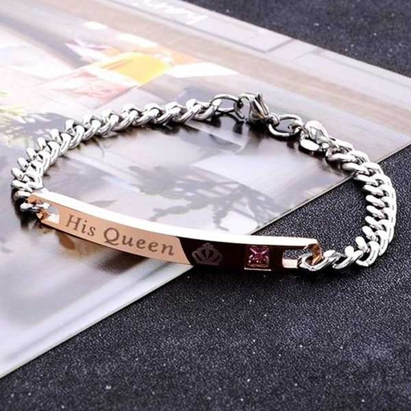 """His Queen-Her King"" 2 Piece Bracelet Set - Blown Biker - 3"