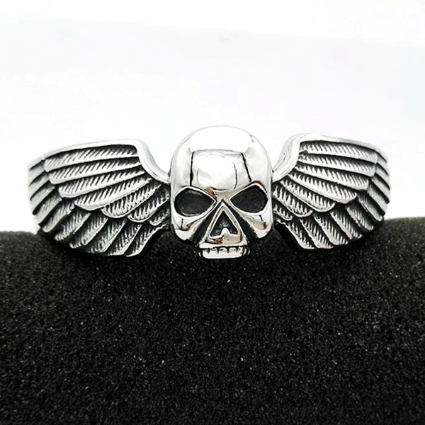 "316L Stainless Steel ""Winged Skull"" Bangle - Blown Biker - 4"