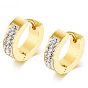 "18k Gold Plated ""CZ Hoops"" Earrings - Blown Biker - 1"