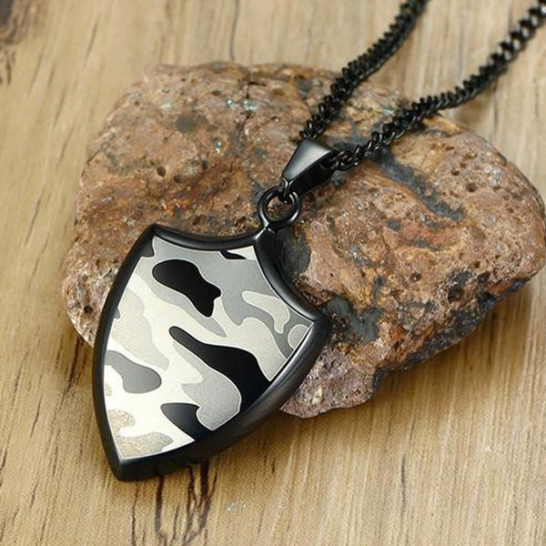 "316L Stainless Steel ""Camo Shield"" Pendant Necklace - Blown Biker - 5"