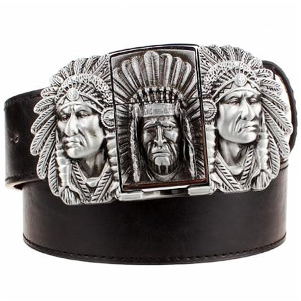 """Indian Chief"" Metal Belt Buckle with Belt & Lighter - Blown Biker - 4"