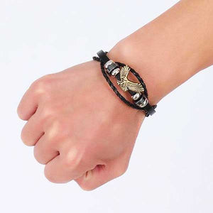 "316L Stainless Steel & Leather ""American Eagle"" Bracelet - Blown Biker - 6"