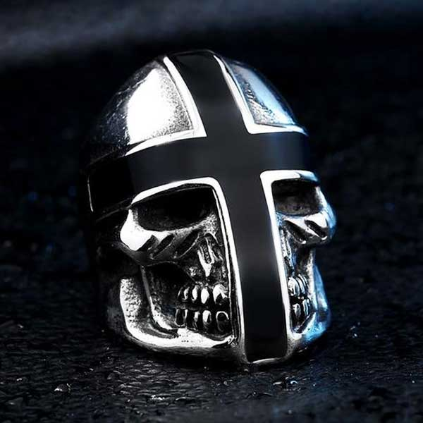 "316L Stainless Steel ""Knight Skull"" Ring - Blown Biker - 5"