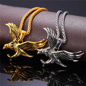 "316L Stainless Steel ""Flying Eagle"" Pendant Necklace - Blown Biker - 01"