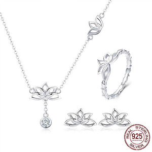 "925 Sterling Silver ""Lotus Flower"" 3 Piece Jewelry Set - Blown Biker - 1"