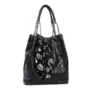 "Luxury ""Skulls"" Embossed Tote Bag - Blown Biker - 06"