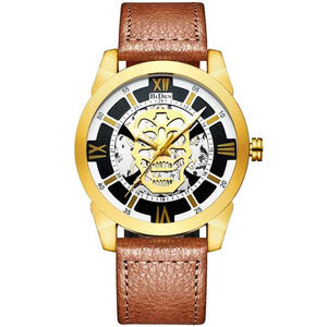 "Quartz ""Steampunk Skull"" Mens Watch - Blown Biker - 6"