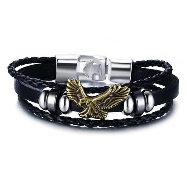 "316L Stainless Steel & Leather ""American Eagle"" Bracelet - Blown Biker - 4"